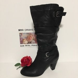 GUESS BLACK SLOUCHY HEELED BOOTS BUCKLE & ZIP 7.5